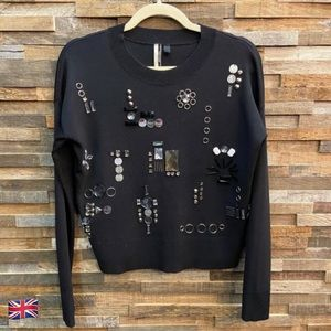Topshop Boutique Black Sweater with Beading